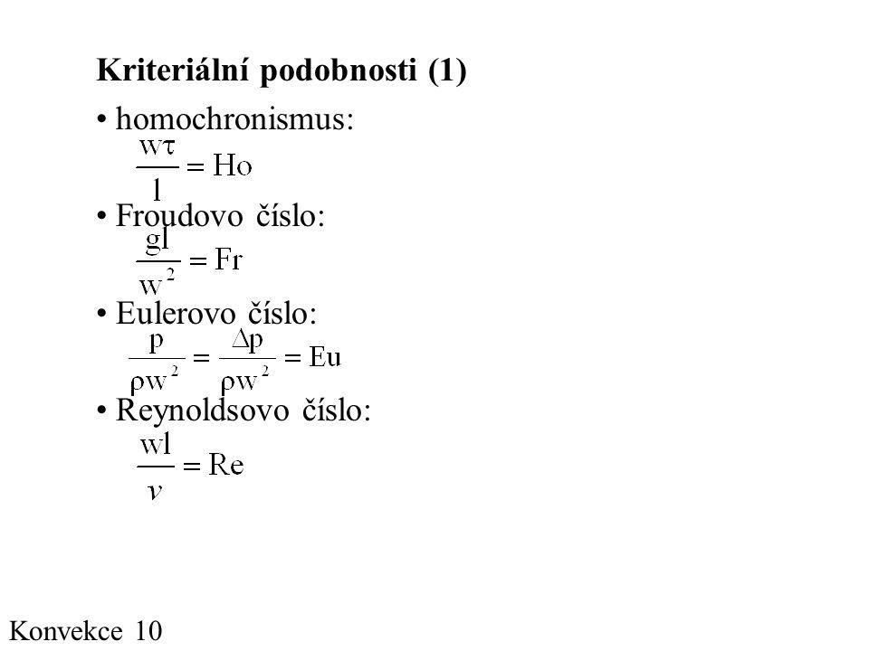 Konvekce 10 Kriteriální podobnosti (1) • homochronismus: • Froudovo číslo: • Eulerovo číslo: • Reynoldsovo číslo: