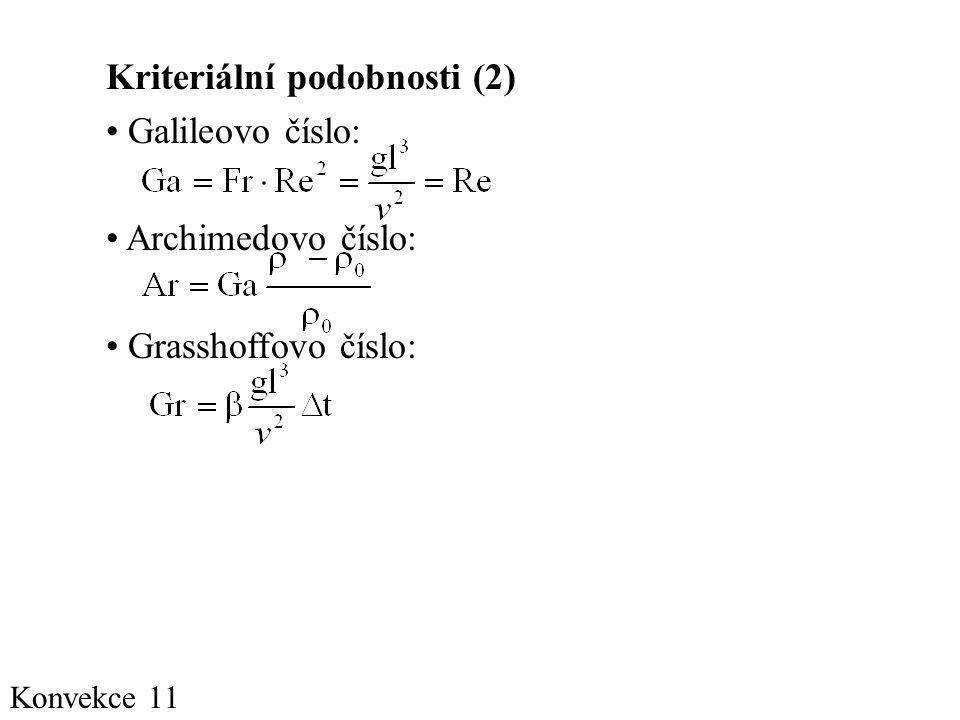 Konvekce 11 Kriteriální podobnosti (2) • Galileovo číslo: • Archimedovo číslo: • Grasshoffovo číslo: