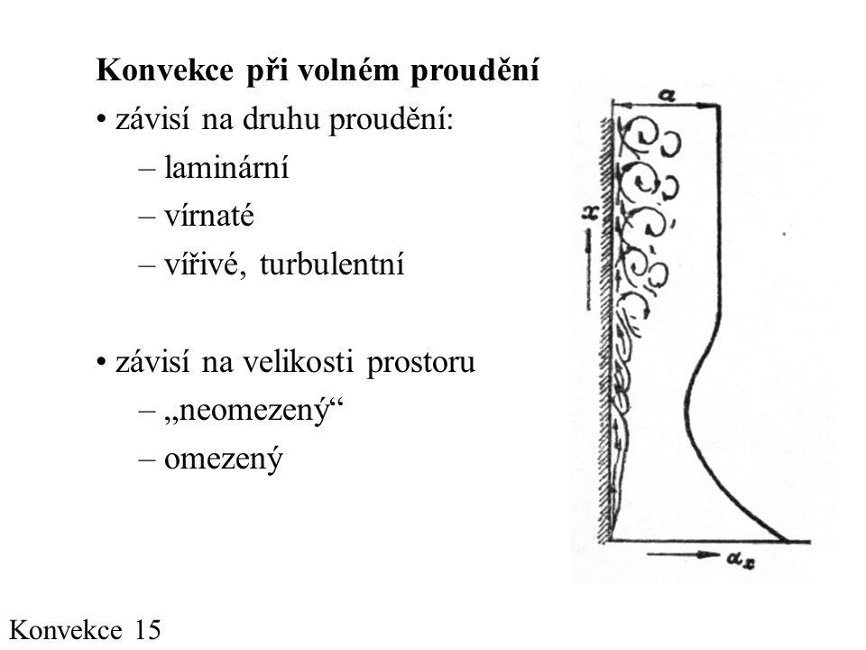 """Konvekce 15 Konvekce při volném proudění • závisí na druhu proudění: – laminární – vírnaté – vířivé, turbulentní • závisí na velikosti prostoru – """"neomezený – omezený"""