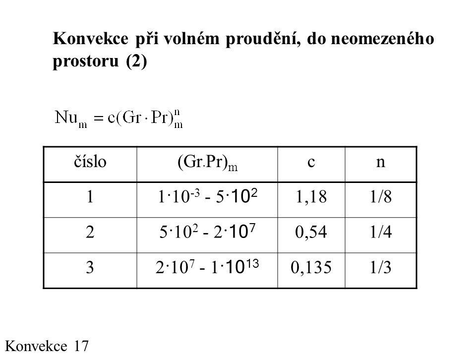 Konvekce 17 Konvekce při volném proudění, do neomezeného prostoru (2) číslo(Gr · Pr) m cn 1 1·10 -3 - 5· 10 2 1,181/8 2 5·10 2 - 2· 10 7 0,541/4 3 2·10 7 - 1· 10 13 0,1351/3