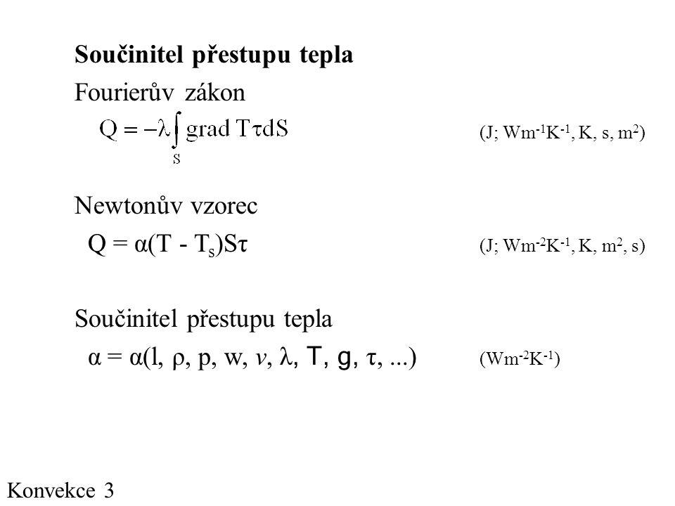 Konvekce 3 Součinitel přestupu tepla Fourierův zákon (J; Wm -1 K -1, K, s, m 2 ) Newtonův vzorec Q = α(T - T s )Sτ (J; Wm -2 K -1, K, m 2, s) Součinitel přestupu tepla α = α(l, ρ, p, w, v, λ, T, g, τ,...) (Wm -2 K -1 )