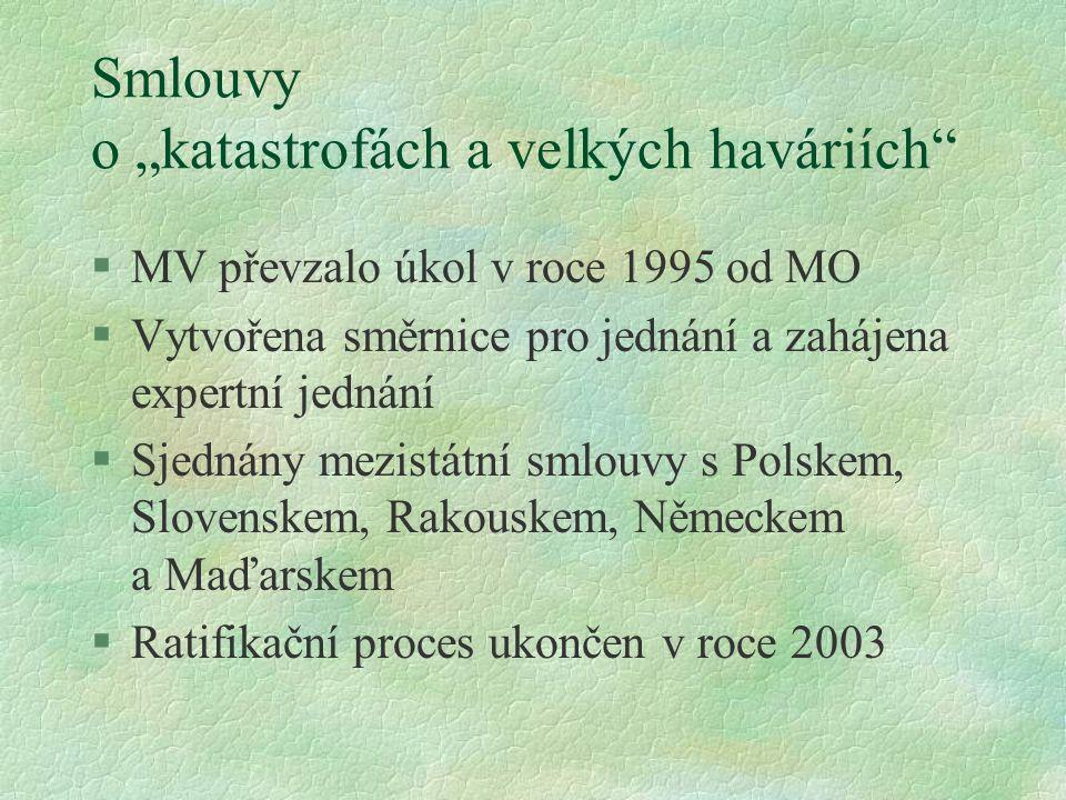 """Smlouvy o """"katastrofách a velkých haváriích"""" §MV převzalo úkol v roce 1995 od MO §Vytvořena směrnice pro jednání a zahájena expertní jednání §Sjednány"""