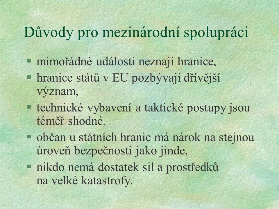 Důvody pro mezinárodní spolupráci §mimořádné události neznají hranice, §hranice států v EU pozbývají dřívější význam, §technické vybavení a taktické p
