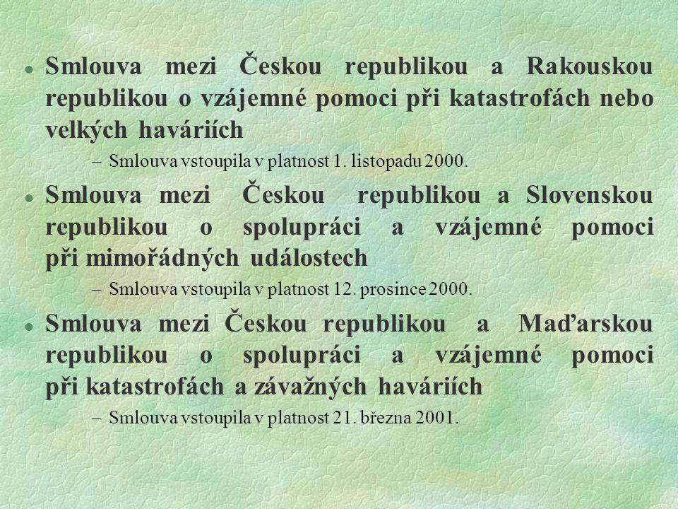  Smlouva mezi Českou republikou a Rakouskou republikou o vzájemné pomoci při katastrofách nebo velkých haváriích –Smlouva vstoupila v platnost 1. lis