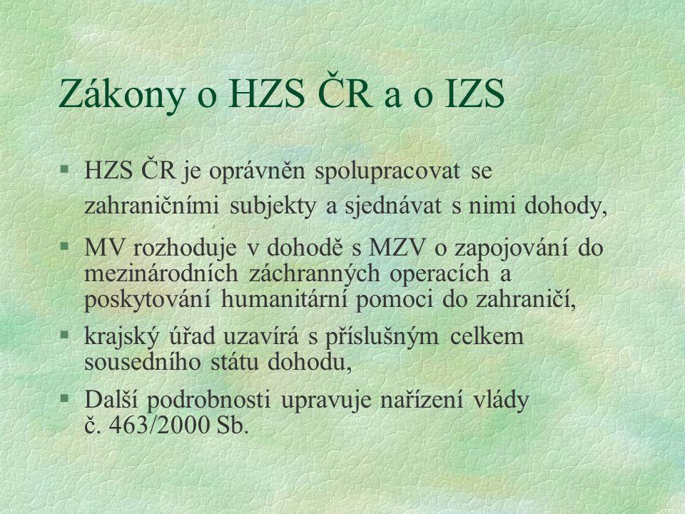 Zákony o HZS ČR a o IZS §HZS ČR je oprávněn spolupracovat se zahraničními subjekty a sjednávat s nimi dohody, »5 §MV rozhoduje v dohodě s MZV o zapojo