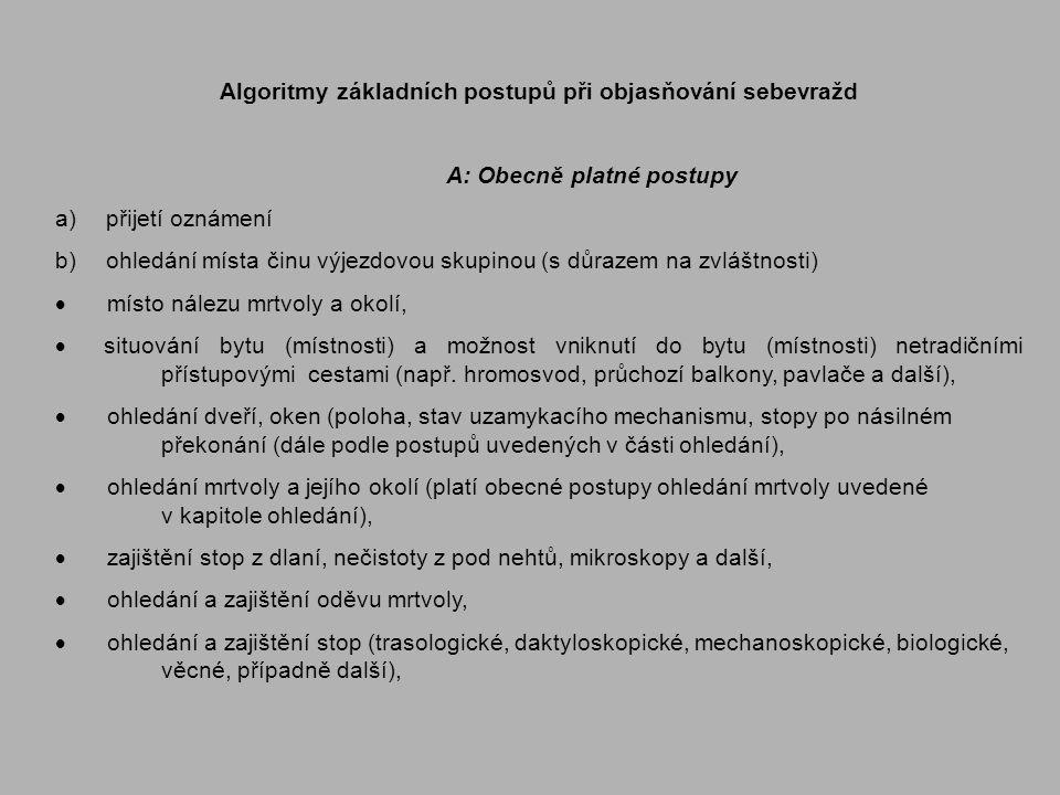 Algoritmy základních postupů při objasňování sebevražd A: Obecně platné postupy a) přijetí oznámení b) ohledání místa činu výjezdovou skupinou (s důra