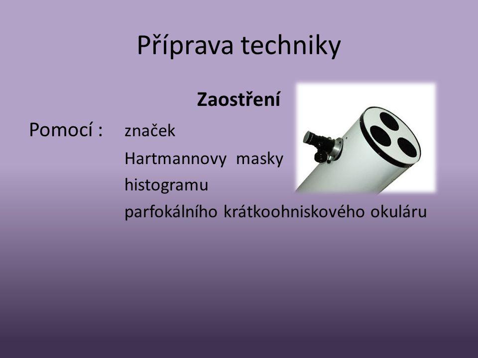 Příprava techniky Zaostření Pomocí : značek Hartmannovy masky histogramu parfokálního krátkoohniskového okuláru