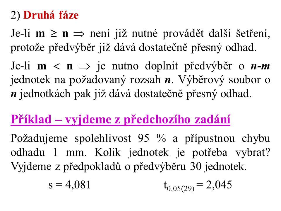 2) Druhá fáze Je-li m  n  není již nutné provádět další šetření, protože předvýběr již dává dostatečně přesný odhad. Je-li m  n  je nutno doplnit