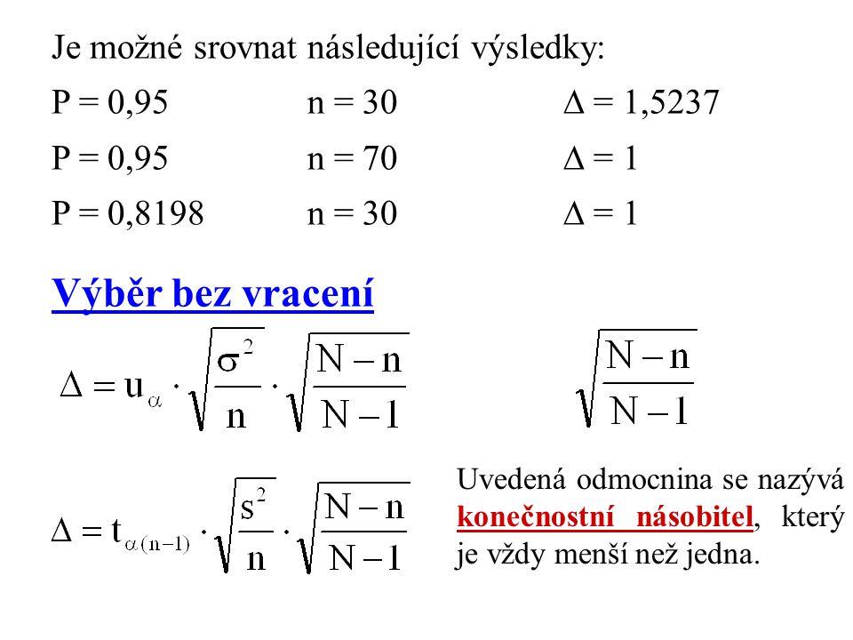 Je možné srovnat následující výsledky: P = 0,95n = 30  = 1,5237 P = 0,95n = 70  = 1 P = 0,8198n = 30  = 1 Výběr bez vracení Uvedená odmocnina se na