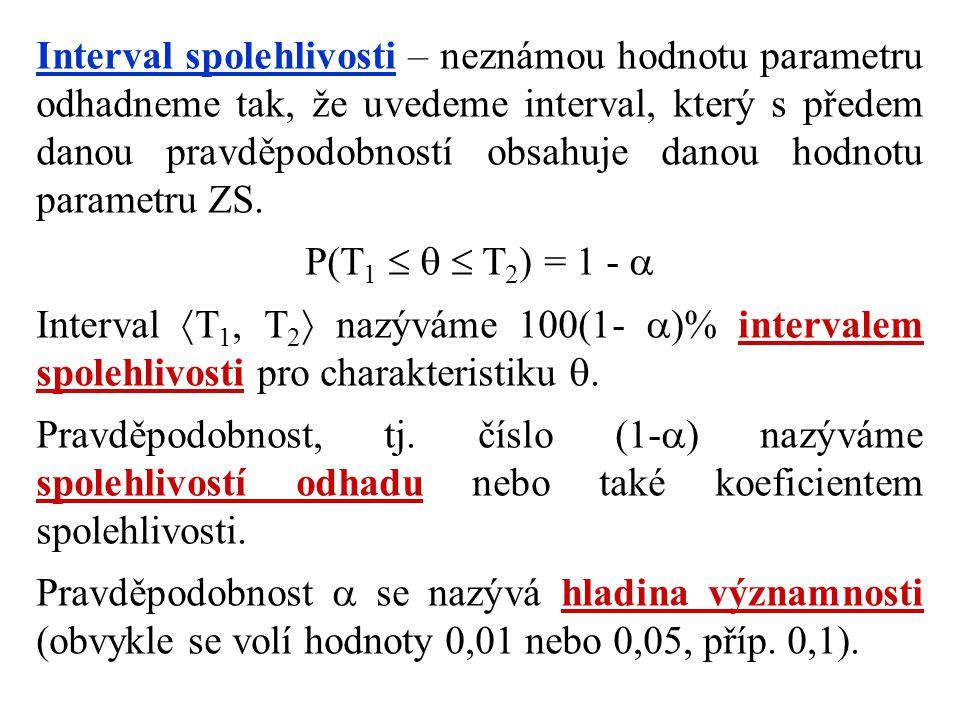 Interval spolehlivosti – neznámou hodnotu parametru odhadneme tak, že uvedeme interval, který s předem danou pravděpodobností obsahuje danou hodnotu p
