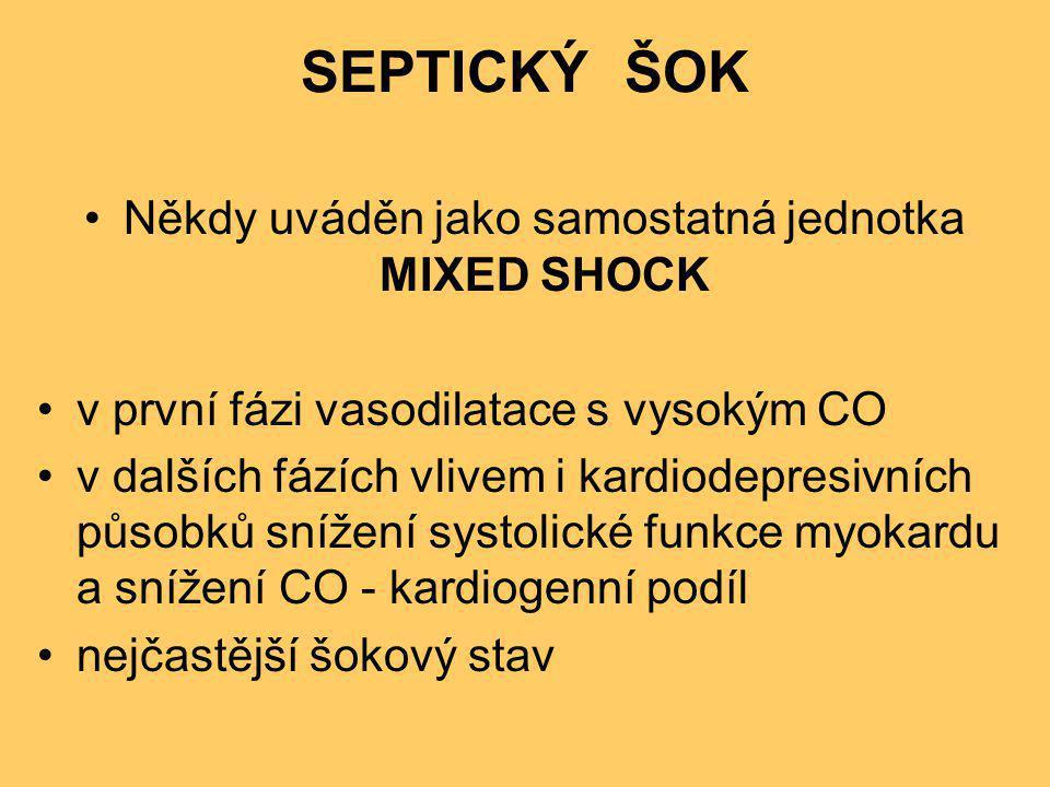 SEPTICKÝ ŠOK •Někdy uváděn jako samostatná jednotka MIXED SHOCK •v první fázi vasodilatace s vysokým CO •v dalších fázích vlivem i kardiodepresivních