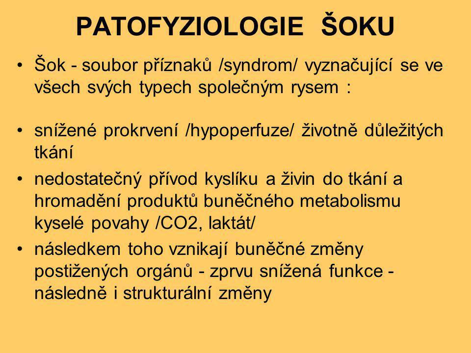 PATOFYZIOLOGIE ŠOKU •Šok - soubor příznaků /syndrom/ vyznačující se ve všech svých typech společným rysem : •snížené prokrvení /hypoperfuze/ životně d