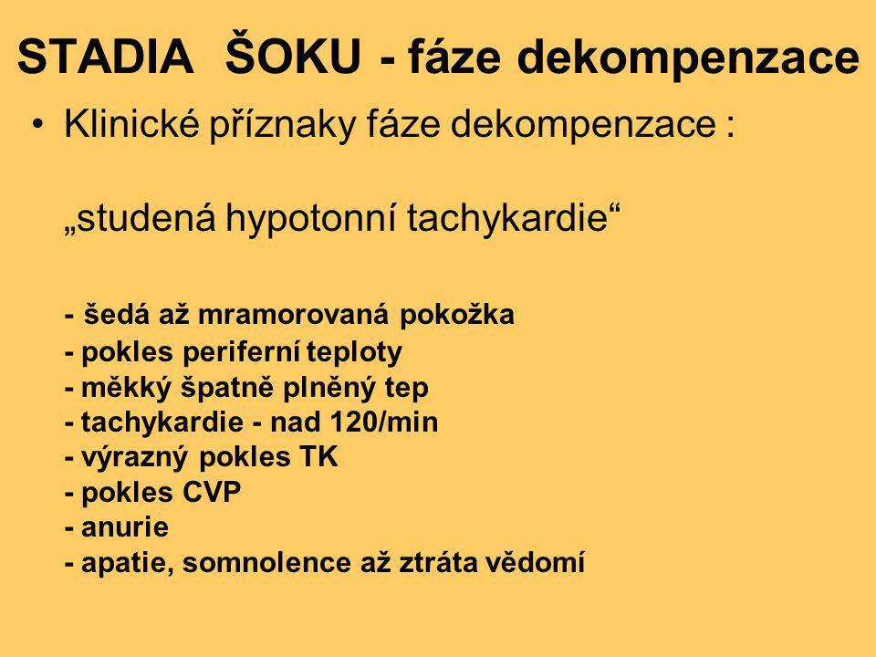 """STADIA ŠOKU - fáze dekompenzace •Klinické příznaky fáze dekompenzace : """"studená hypotonní tachykardie"""" - šedá až mramorovaná pokožka - pokles perifern"""
