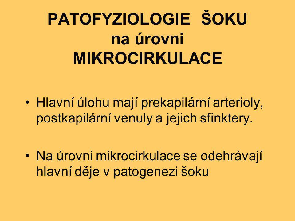 PATOFYZIOLOGIE ŠOKU na úrovni MIKROCIRKULACE •Hlavní úlohu mají prekapilární arterioly, postkapilární venuly a jejich sfinktery. •Na úrovni mikrocirku