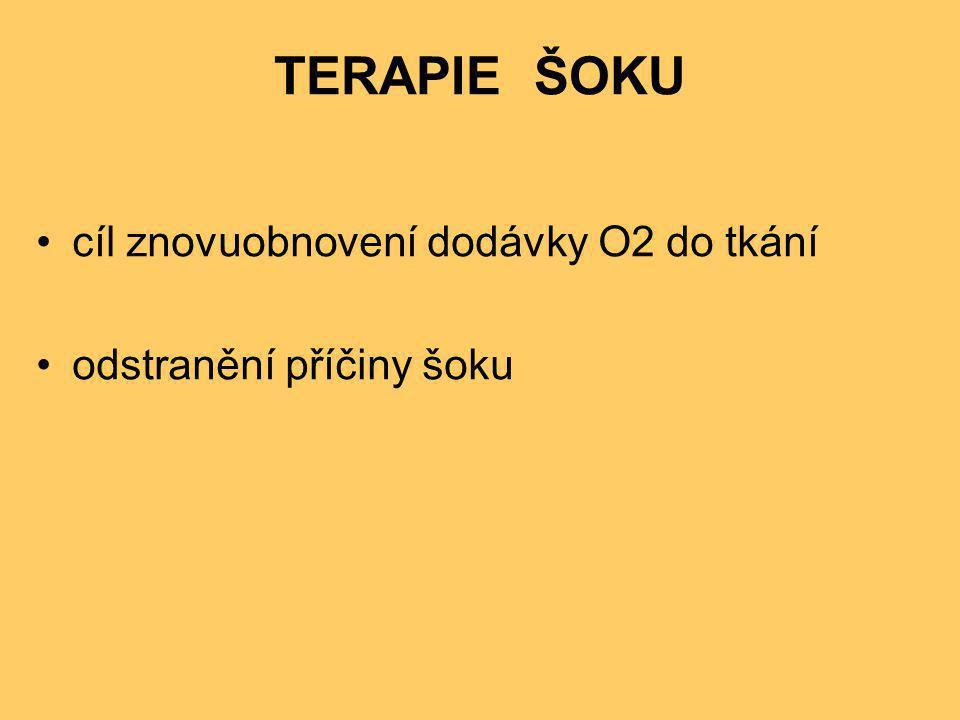 TERAPIE ŠOKU •cíl znovuobnovení dodávky O2 do tkání •odstranění příčiny šoku