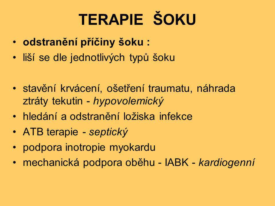 TERAPIE ŠOKU •odstranění příčiny šoku : •liší se dle jednotlivých typů šoku •stavění krvácení, ošetření traumatu, náhrada ztráty tekutin - hypovolemic