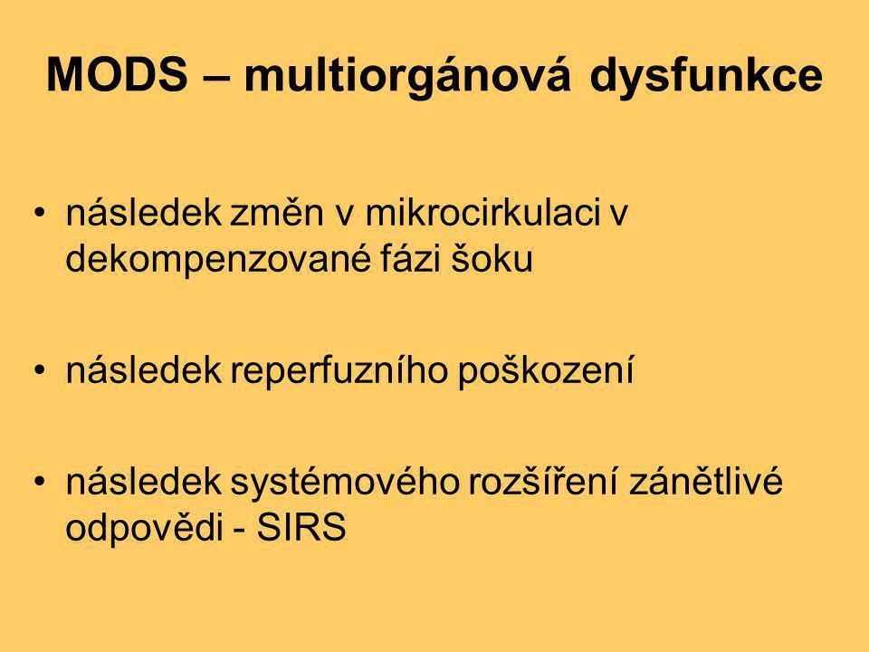 MODS – multiorgánová dysfunkce •následek změn v mikrocirkulaci v dekompenzované fázi šoku •následek reperfuzního poškození •následek systémového rozší