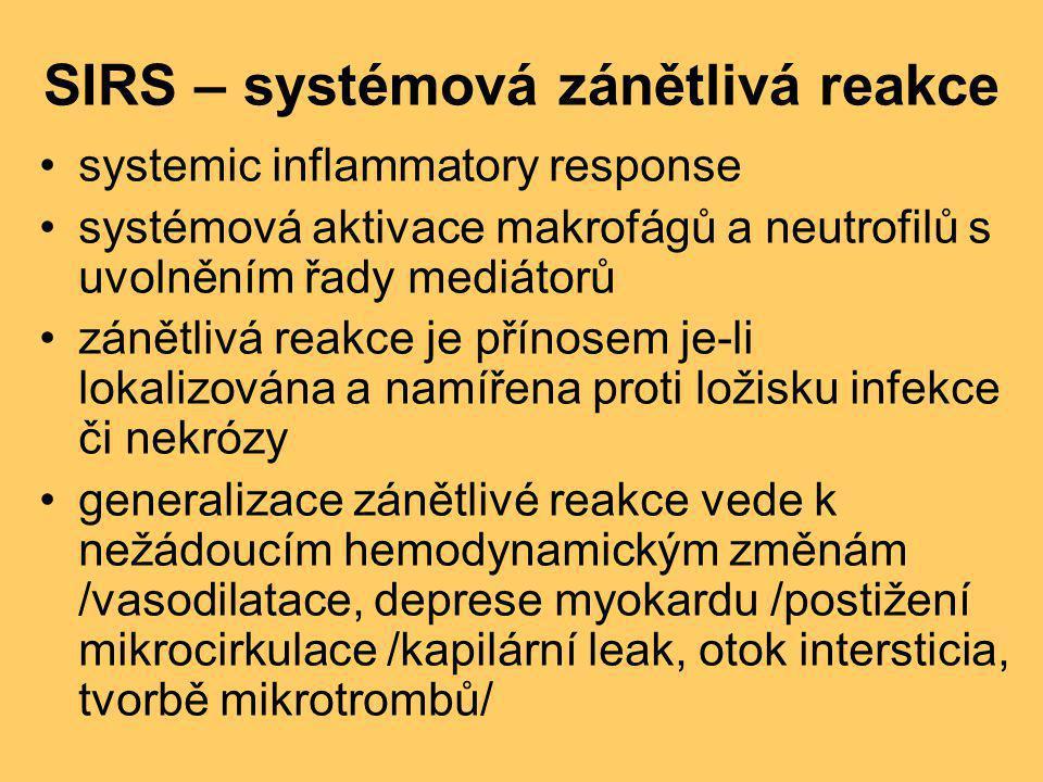 SIRS – systémová zánětlivá reakce •systemic inflammatory response •systémová aktivace makrofágů a neutrofilů s uvolněním řady mediátorů •zánětlivá rea