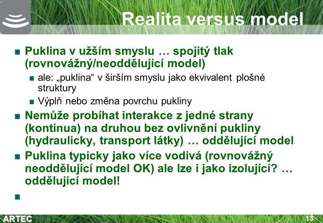 """ARTEC 13 Realita versus model Puklina v užším smyslu … spojitý tlak (rovnovážný/neoddělující model) ale: """"puklina"""" v širším smyslu jako ekvivalent plo"""