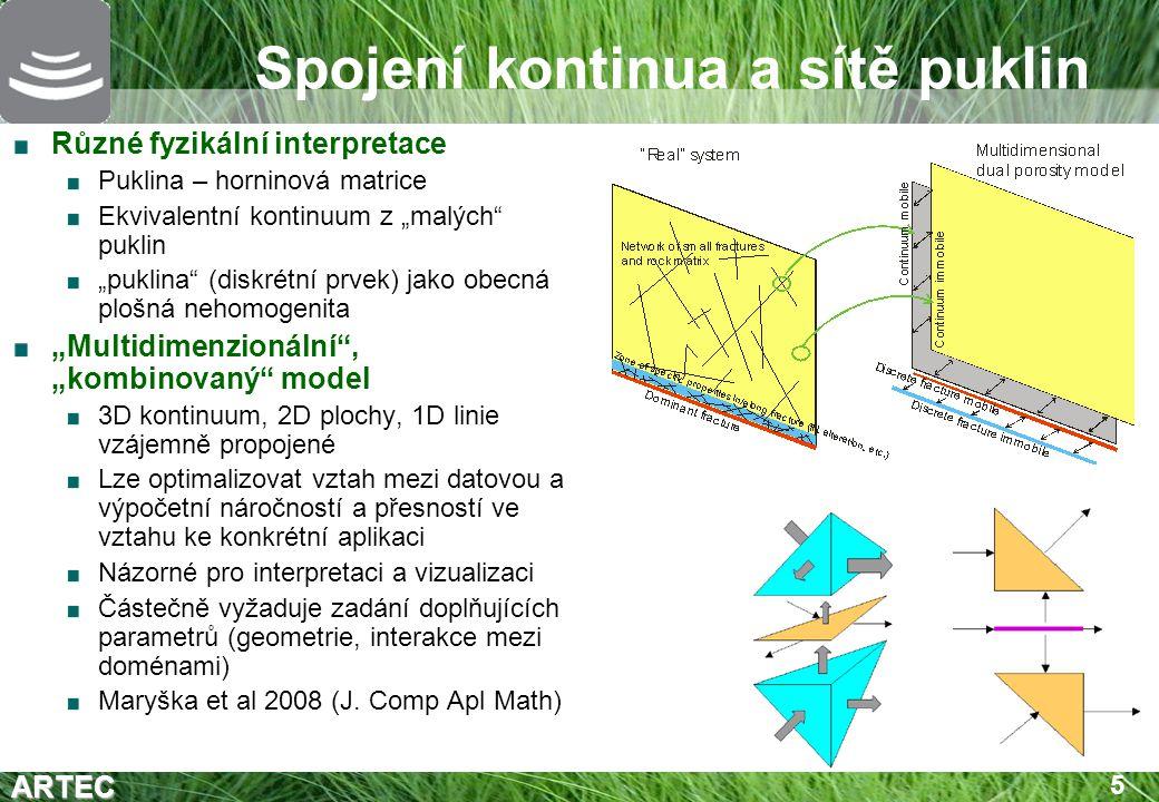 """ARTEC 6 Příklady řešení """"Tradiční technika doplnění puklin do modelu kontinua (porézní prostředí) FEFLOW – """"puklinové prvky 1D,2D Zadání až na úrovní FEM diskretizace 1D a 2D prvky sledují geometrii 3D prvků (stěny, hrany) Vhodné jen pro malý počet 1D a 2D objektů CONNECTFLOW (NAPSAC+NAMMU) Diskrétní síť a kontinuum každý v samostatné části modelu FLOW123 (vyvíjeno TUL) Libovolná geometrie 3D, 2D, 1D (kompatibilní i nekompatibilní spojení – úspora počtu elementů) Otevřené otázky teoretické i praktické"""