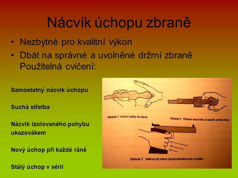 Nácvik úchopu zbraně •Nezbytné pro kvalitní výkon •Dbát na správné a uvolněné držrní zbraně Použitelná cvičení: Samostatný nácvik úchopu Suchá střelba