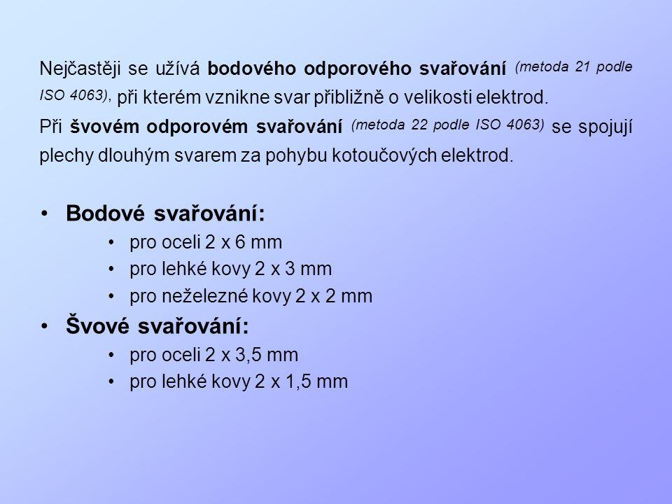 •Bodové svařování: • pro oceli 2 x 6 mm • pro lehké kovy 2 x 3 mm • pro neželezné kovy 2 x 2 mm •Švové svařování: • pro oceli 2 x 3,5 mm • pro lehké k