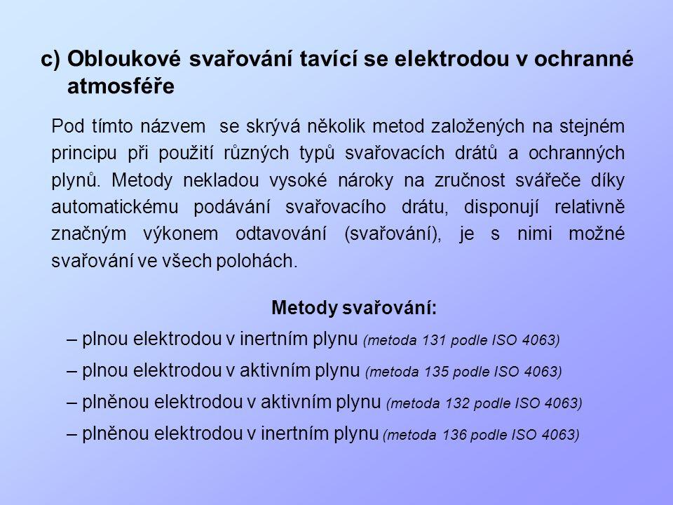 c)Obloukové svařování tavící se elektrodou v ochranné atmosféře Metody svařování: – plnou elektrodou v inertním plynu (metoda 131 podle ISO 4063) – pl