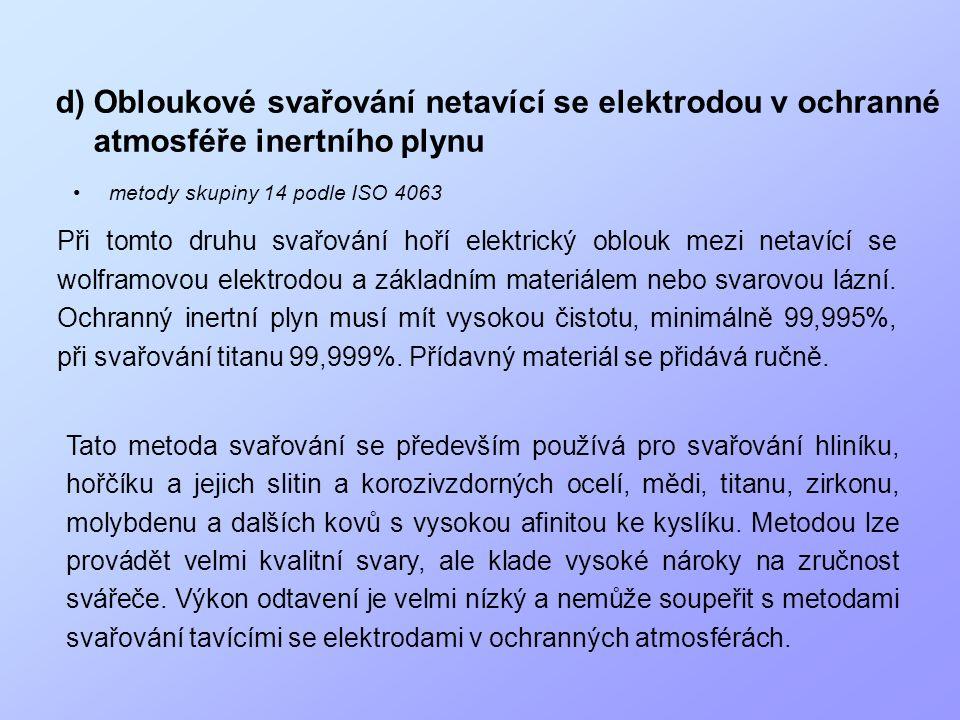 d)Obloukové svařování netavící se elektrodou v ochranné atmosféře inertního plynu •metody skupiny 14 podle ISO 4063 Při tomto druhu svařování hoří ele