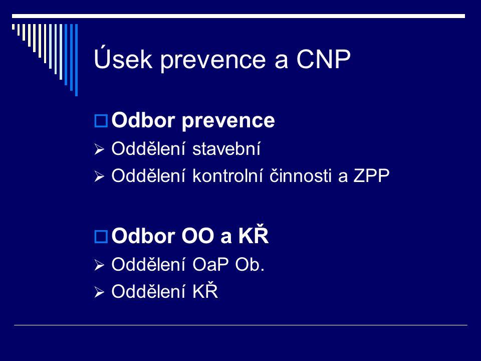 Úsek prevence a CNP  Odbor prevence  Oddělení stavební  Oddělení kontrolní činnosti a ZPP  Odbor OO a KŘ  Oddělení OaP Ob.