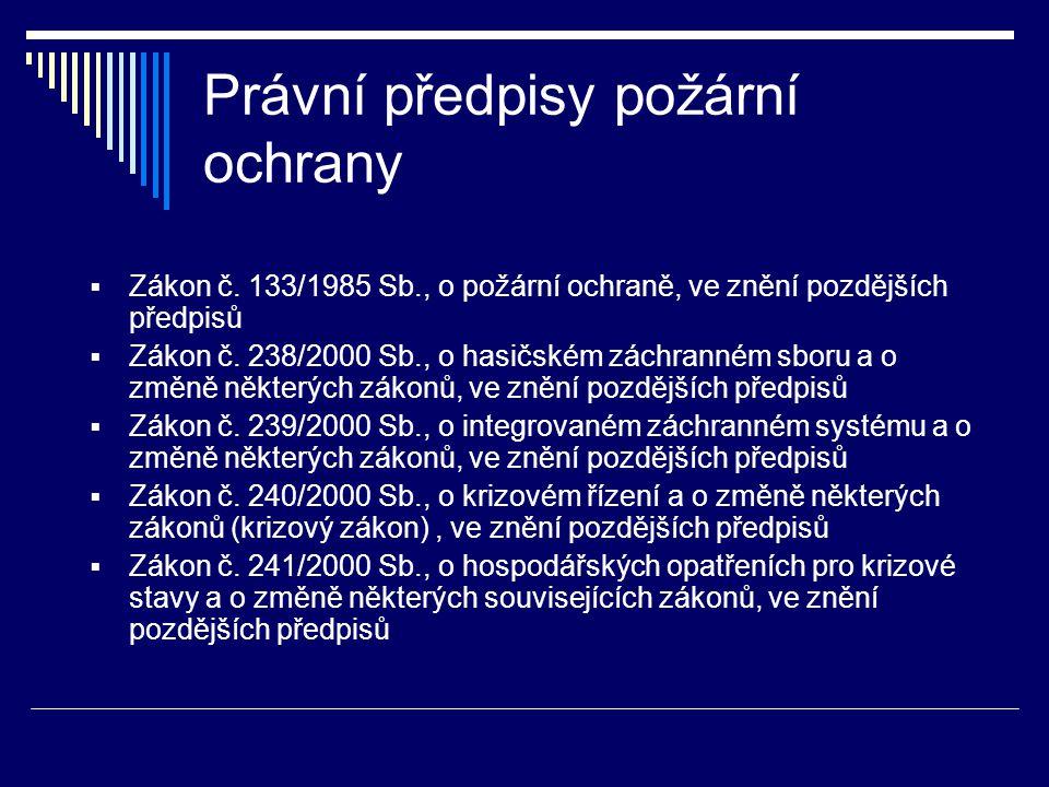 Právní předpisy požární ochrany  Zákon č.