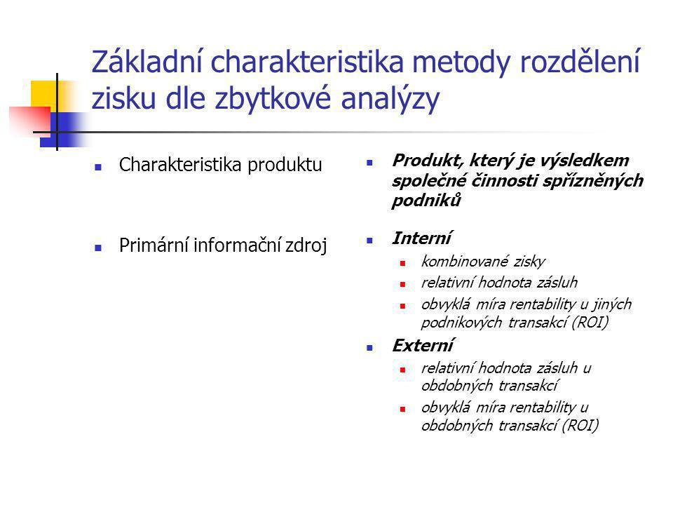 Základní charakteristika metody rozdělení zisku dle zbytkové analýzy  Charakteristika produktu  Primární informační zdroj  Produkt, který je výsled