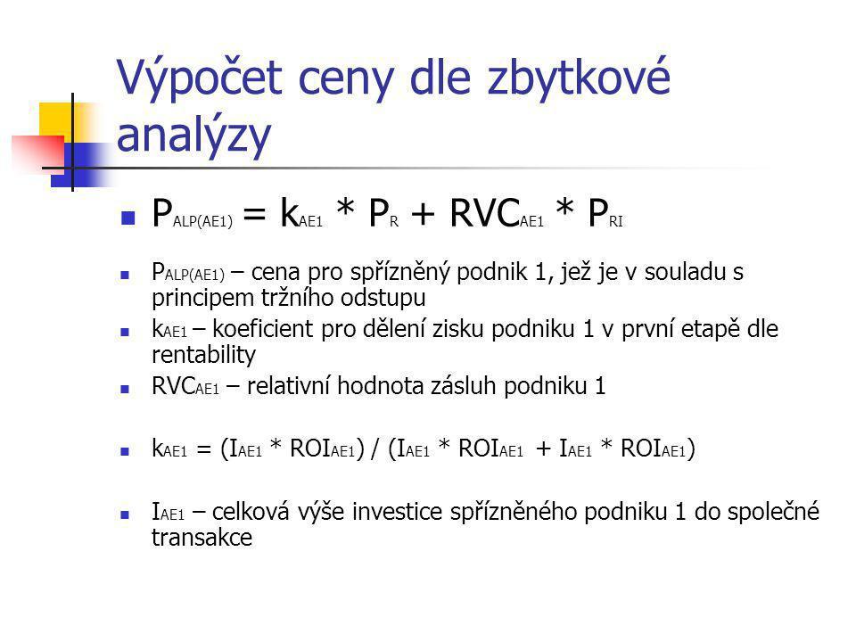 Výpočet ceny dle zbytkové analýzy  P ALP(AE1) = k AE1 * P R + RVC AE1 * P RI  P ALP(AE1) – cena pro spřízněný podnik 1, jež je v souladu s principem