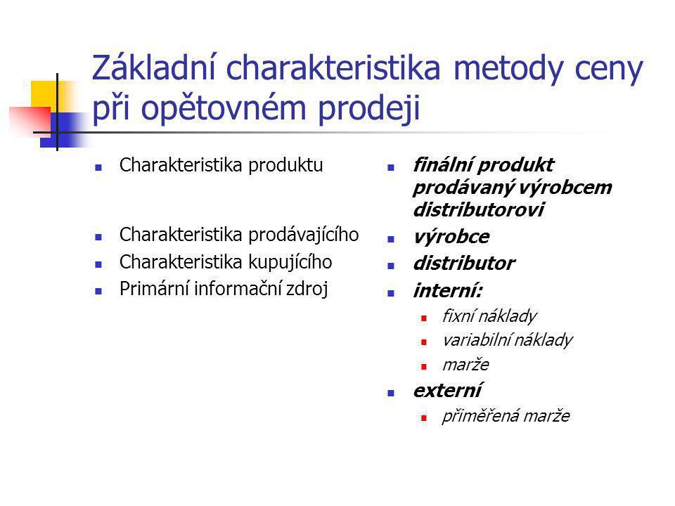 Základní charakteristika metody ceny při opětovném prodeji  Charakteristika produktu  Charakteristika prodávajícího  Charakteristika kupujícího  P