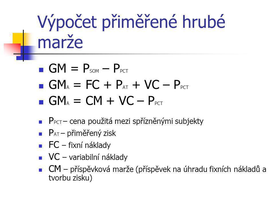 Výpočet přiměřené hrubé marže  GM = P SOM – P PCT  GM A = FC + P AT + VC – P PCT  GM A = CM + VC – P PCT  P PCT – cena použitá mezi spřízněnými su