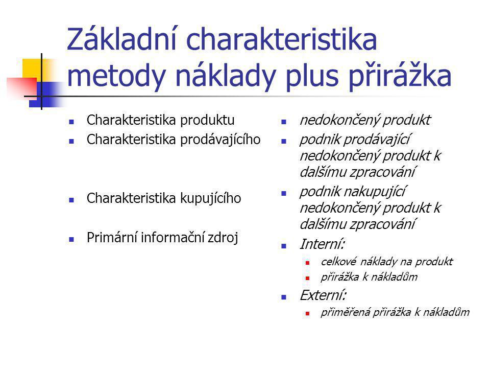 Základní charakteristika metody náklady plus přirážka  Charakteristika produktu  Charakteristika prodávajícího  Charakteristika kupujícího  Primár