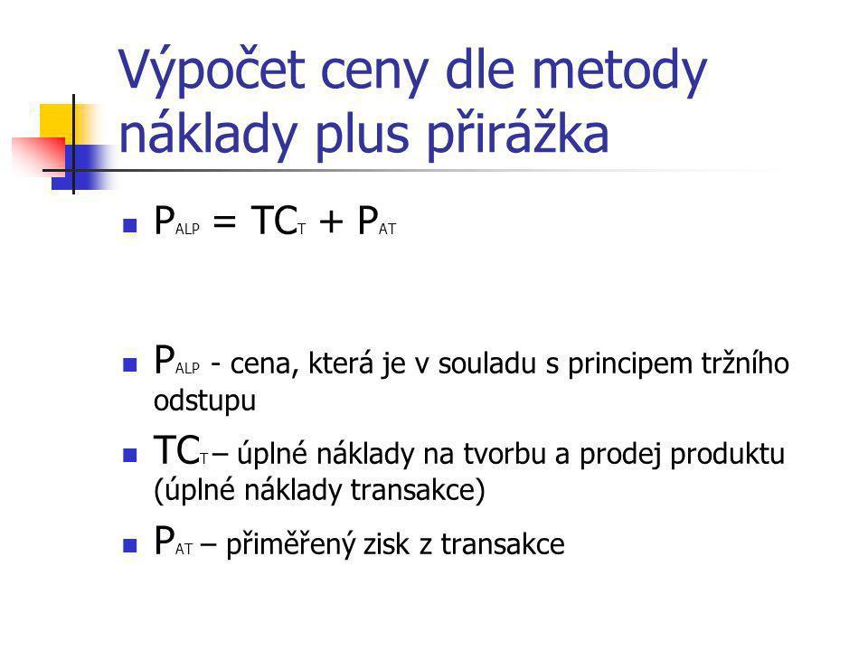 Výpočet ceny dle metody náklady plus přirážka  P ALP = TC T + P AT  P ALP - cena, která je v souladu s principem tržního odstupu  TC T – úplné nákl