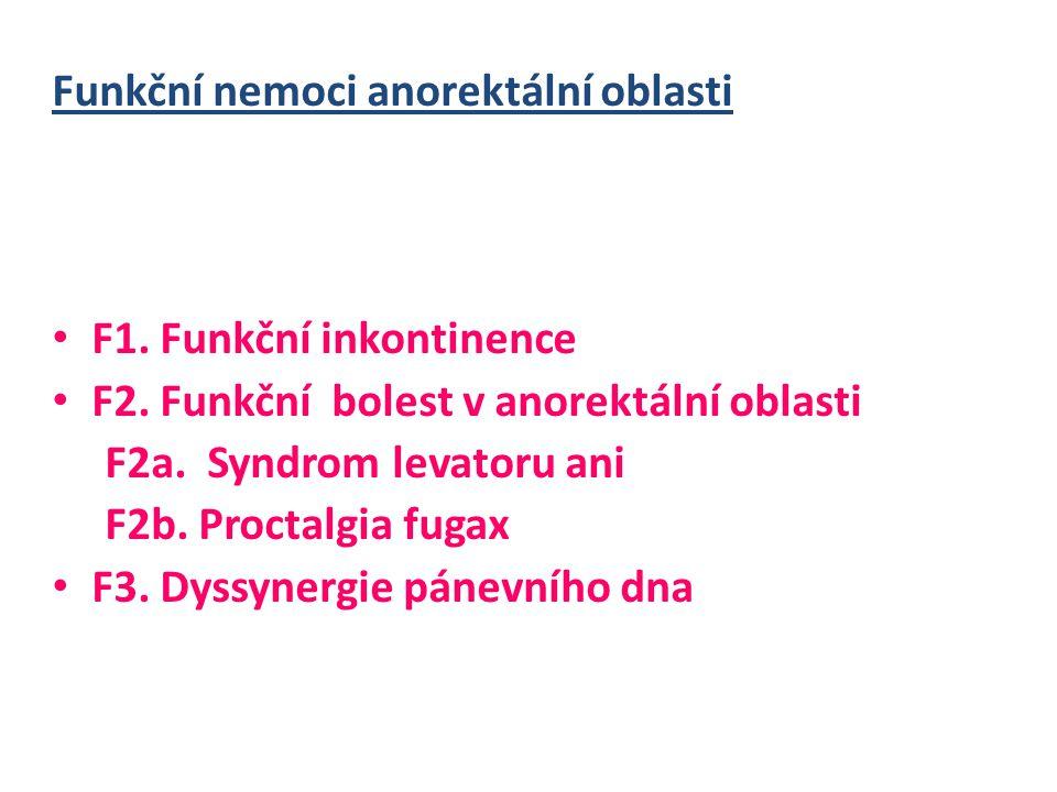 Funkční nemoci anorektální oblasti • F1.Funkční inkontinence • F2.