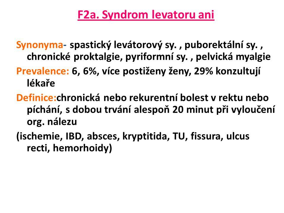 F2a. Syndrom levatoru ani Synonyma- spastický levátorový sy., puborektální sy., chronické proktalgie, pyriformní sy., pelvická myalgie Prevalence: 6,