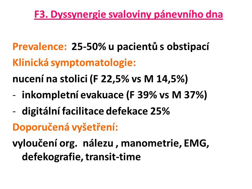 F3. Dyssynergie svaloviny pánevního dna Prevalence: 25-50% u pacientů s obstipací Klinická symptomatologie: nucení na stolici (F 22,5% vs M 14,5%) -in