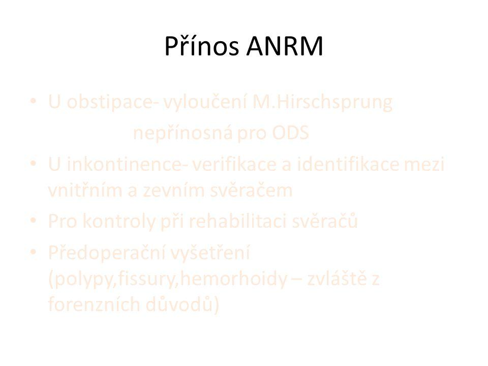 Přínos ANRM • U obstipace- vyloučení M.Hirschsprung nepřínosná pro ODS • U inkontinence- verifikace a identifikace mezi vnitřním a zevním svěračem • Pro kontroly při rehabilitaci svěračů • Předoperační vyšetření (polypy,fissury,hemorhoidy – zvláště z forenzních důvodů)