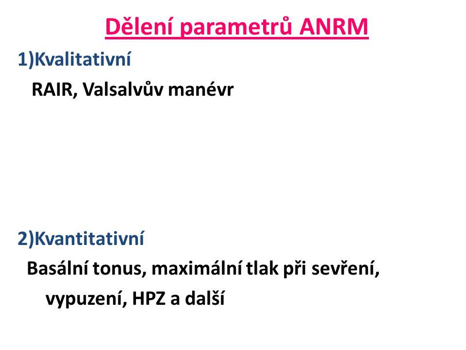 Dělení parametrů ANRM 1)Kvalitativní RAIR, Valsalvův manévr 2)Kvantitativní Basální tonus, maximální tlak při sevření, vypuzení, HPZ a další