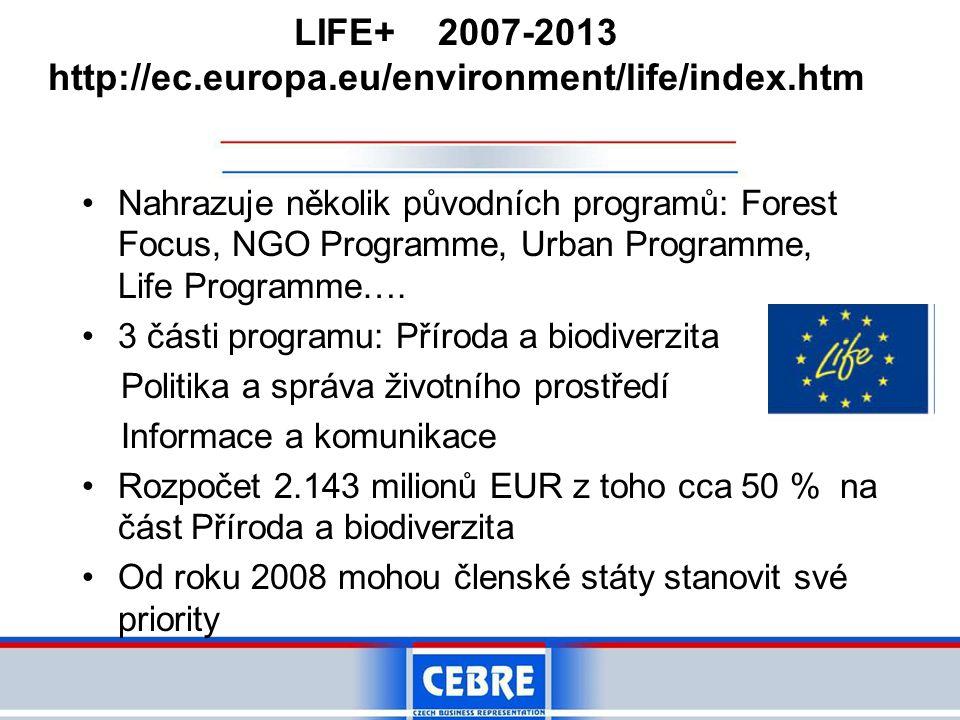 LIFE+ 2007-2013 http://ec.europa.eu/environment/life/index.htm •Nahrazuje několik původních programů: Forest Focus, NGO Programme, Urban Programme, Life Programme….