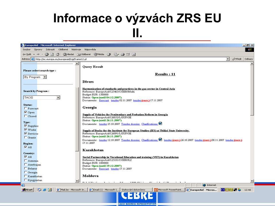 Informace o výzvách ZRS EU II.