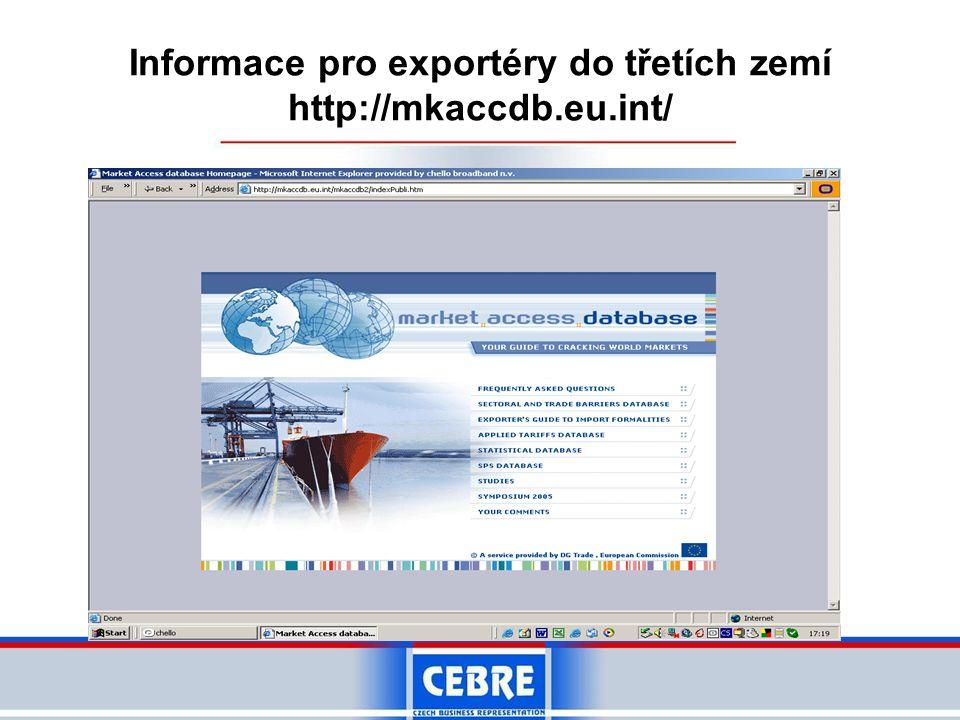 Informace pro exportéry do třetích zemí http://mkaccdb.eu.int/