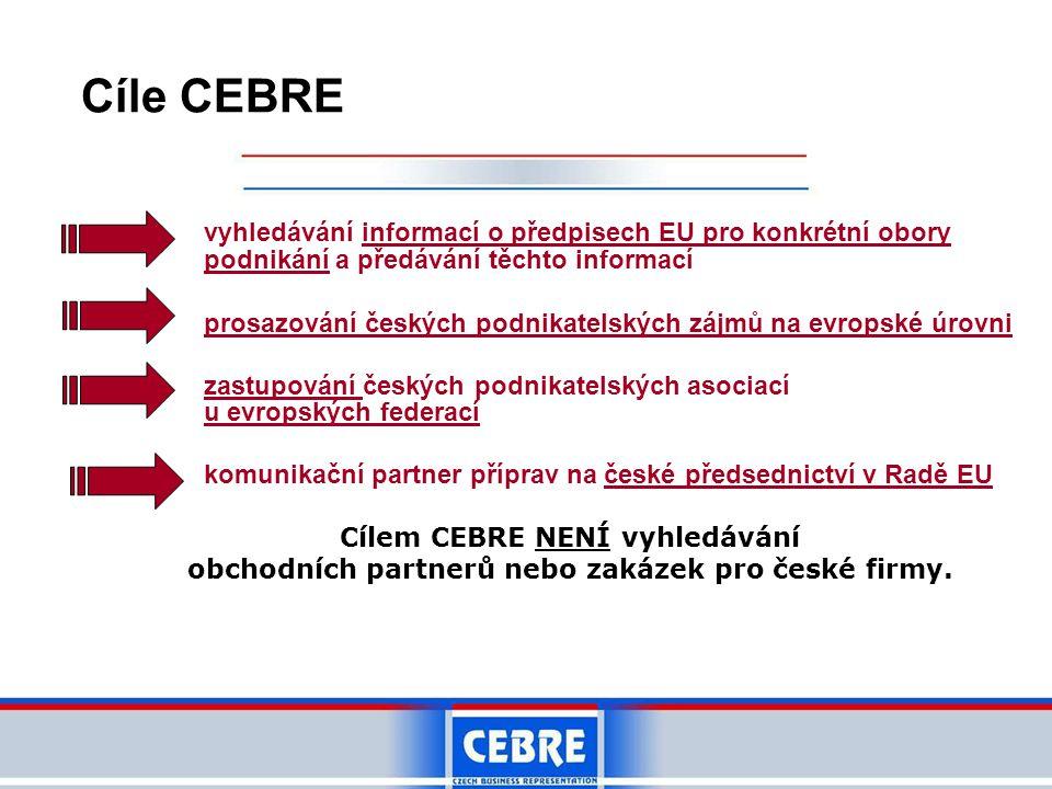 Cíle CEBRE vyhledávání informací o předpisech EU pro konkrétní obory podnikání a předávání těchto informací prosazování českých podnikatelských zájmů na evropské úrovni zastupování českých podnikatelských asociací u evropských federací komunikační partner příprav na české předsednictví v Radě EU Cílem CEBRE NENÍ vyhledávání obchodních partnerů nebo zakázek pro české firmy.