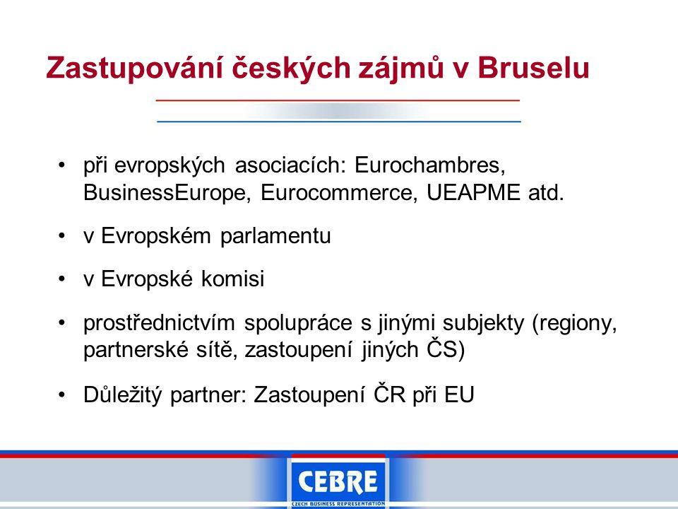 Zastupování českých zájmů v Bruselu •při evropských asociacích: Eurochambres, BusinessEurope, Eurocommerce, UEAPME atd.