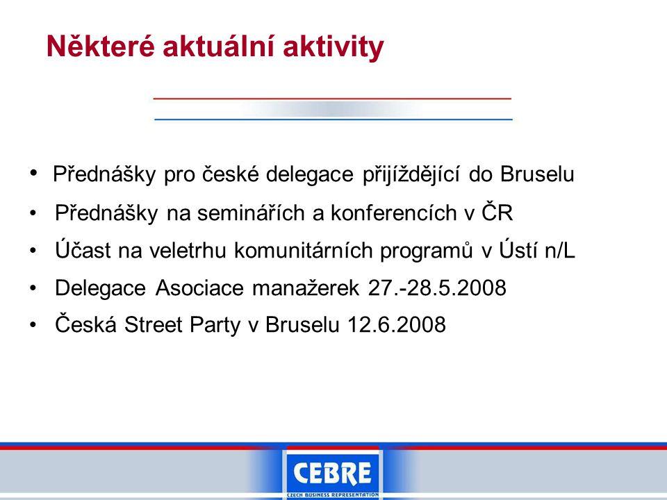 Některé aktuální aktivity • Přednášky pro české delegace přijíždějící do Bruselu • Přednášky na seminářích a konferencích v ČR • Účast na veletrhu komunitárních programů v Ústí n/L • Delegace Asociace manažerek 27.-28.5.2008 • Česká Street Party v Bruselu 12.6.2008