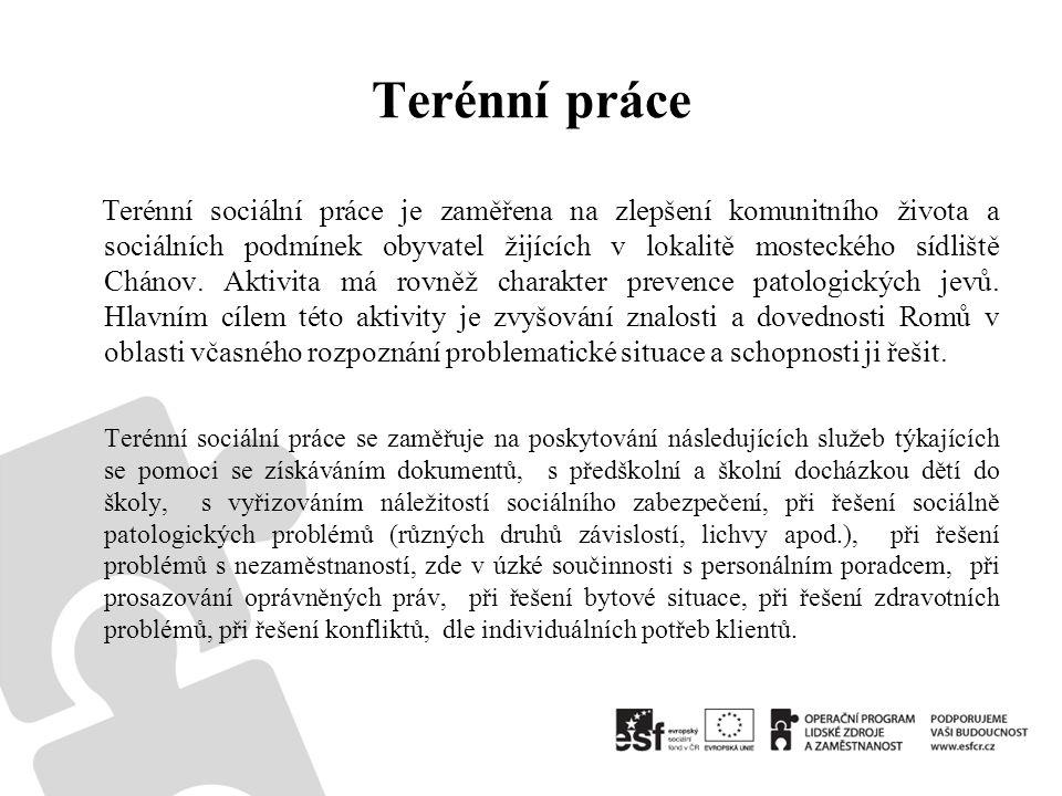 Terénní práce Terénní sociální práce je zaměřena na zlepšení komunitního života a sociálních podmínek obyvatel žijících v lokalitě mosteckého sídliště Chánov.