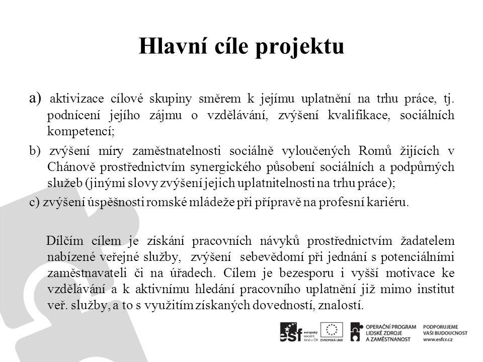 Hlavní cíle projektu a) aktivizace cílové skupiny směrem k jejímu uplatnění na trhu práce, tj.