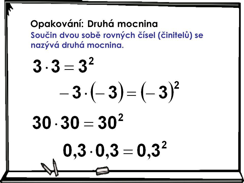 Opakování: Druhá mocnina Součin dvou sobě rovných čísel (činitelů) se nazývá druhá mocnina.